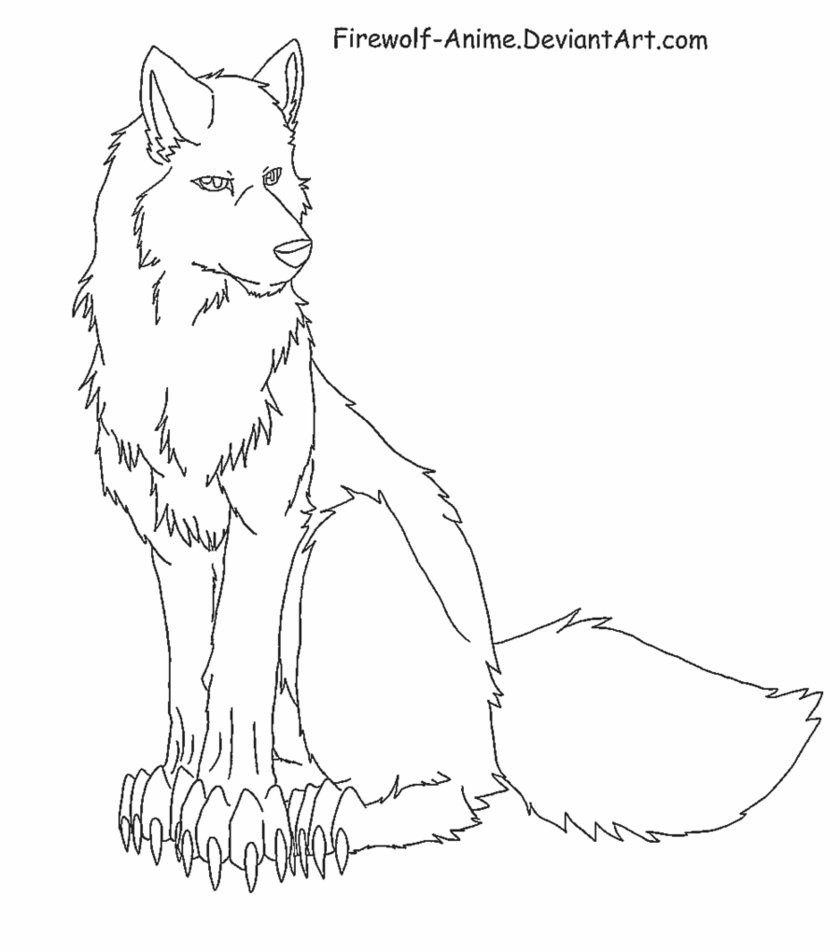 840x951 Sitting Wolf Lineart By Firewolf Anime