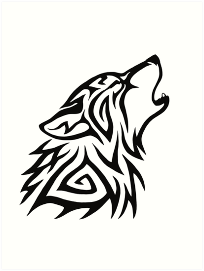413x549 Tribal Wolf Howl Art Prints By Hareguizer Redbubble