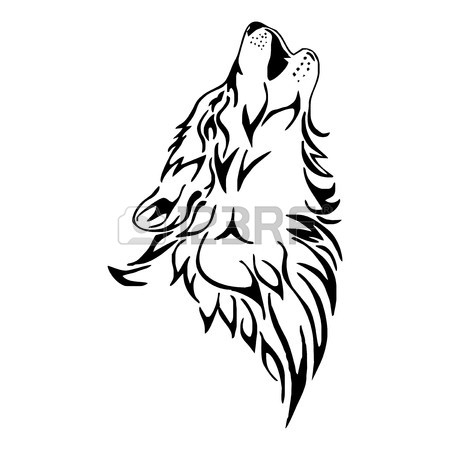 450x450 Wolf Howl Head Tattoo Vector Royalty Free Cliparts, Vectors,