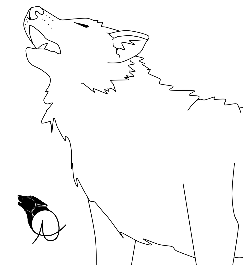 1024x1116 Wolf Howl Line Art By Angelfonds