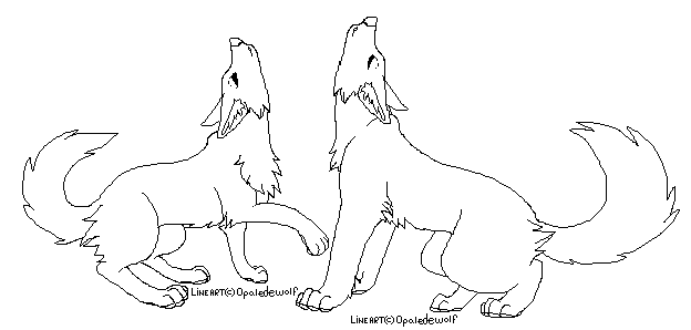 624x298 Howling Wolf Couple Lineart By Protosykelegacy