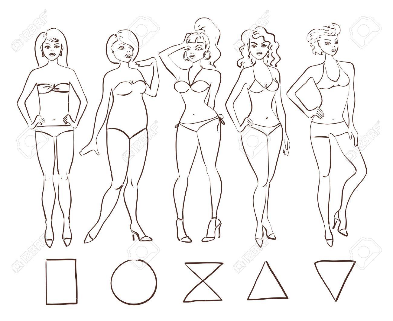 1300x1064 Sketch Cartoon Set Of Isolated Female Body Shape Types. Round