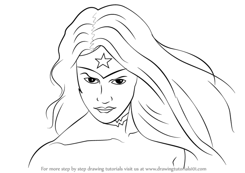 800x566 Learn How To Draw Wonder Woman Face (Wonder Woman) Step By Step
