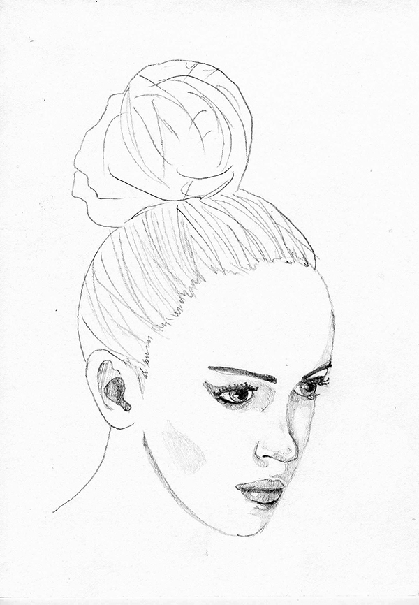 600x866 Woman Face Sketch On Behance