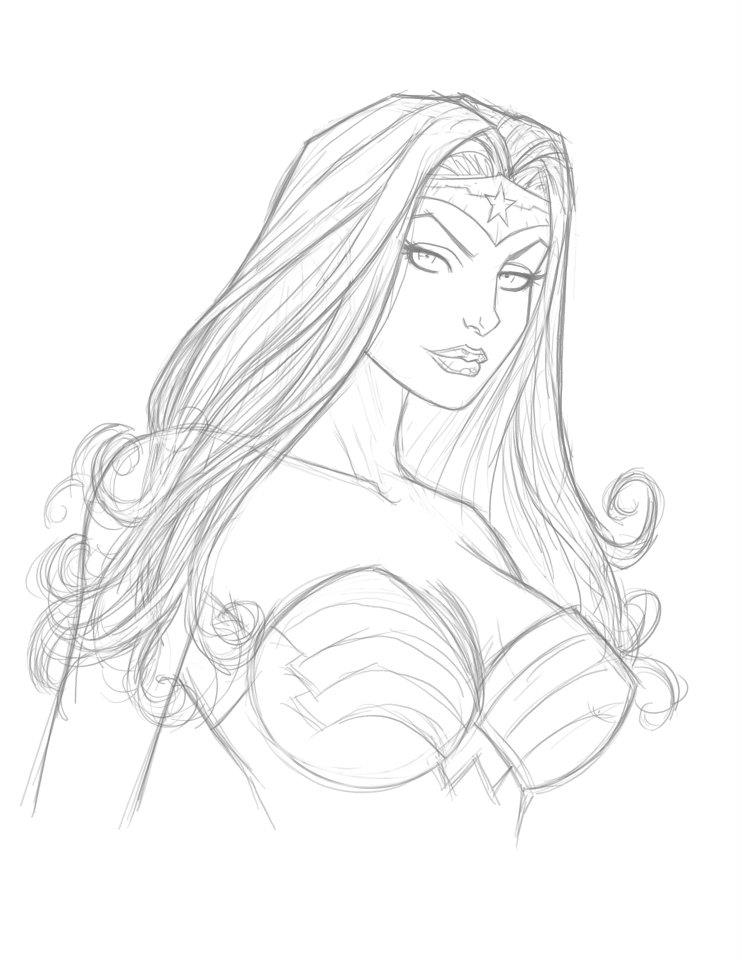 742x960 Wonder Woman Sketch By Tomrasch