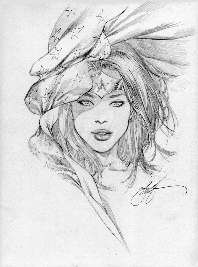 770x1038 Wonder Woman Stars Head Sketch By Ebas