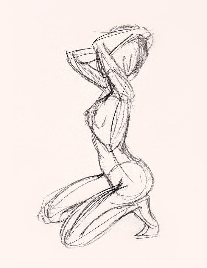 695x900 Charcoal Sketch Of Nude Woman Kneeling Drawing By Whiskey Dog Studio