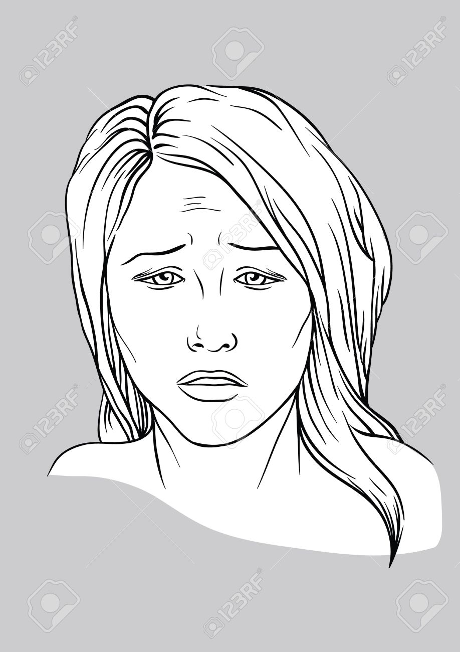 918x1300 Sad Face Of A Young Woman Royalty Free Cliparts, Vectors,