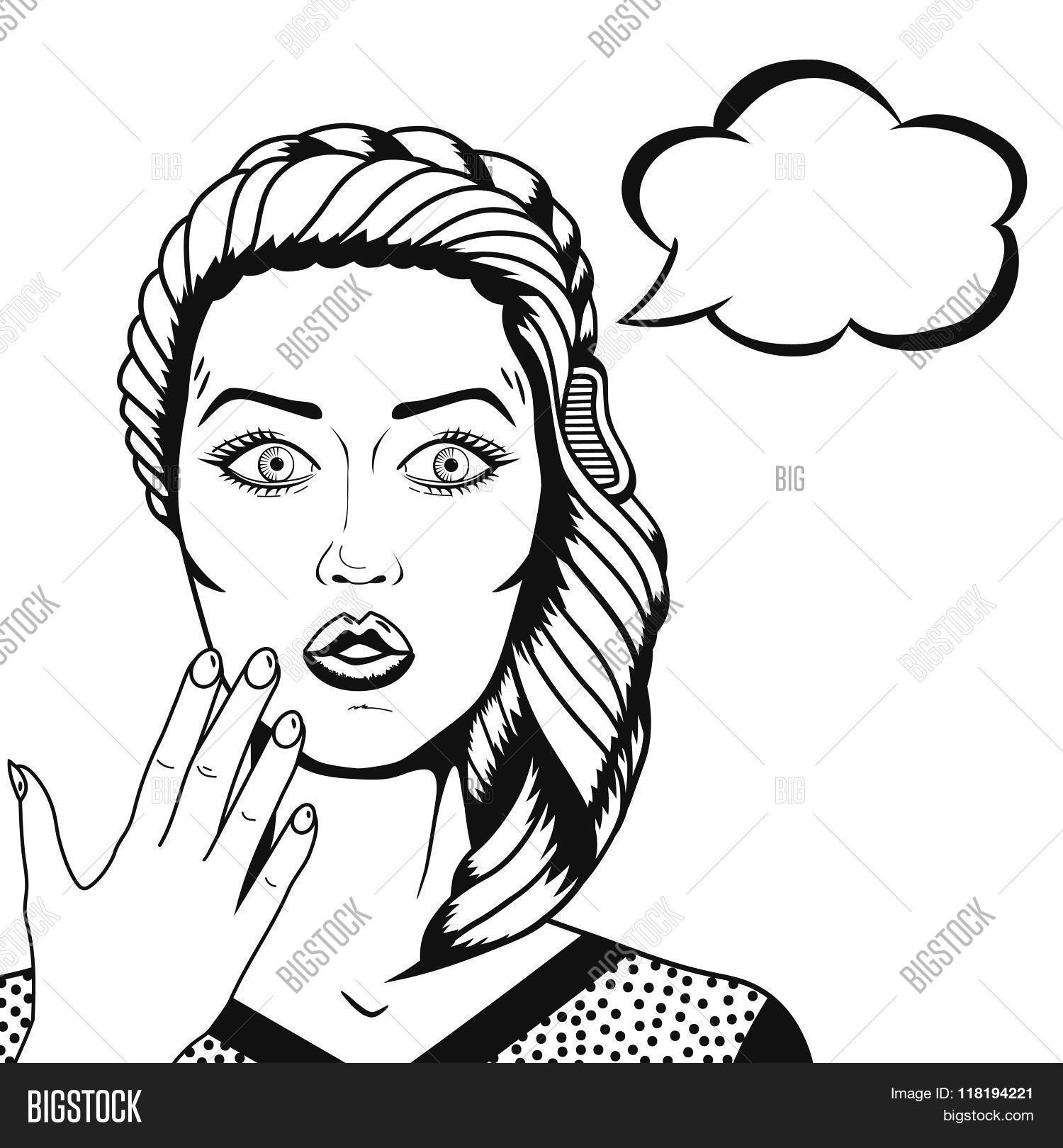 1500x1620 Vector Pop Art Surprised Woman Vector Amp Photo Bigstock