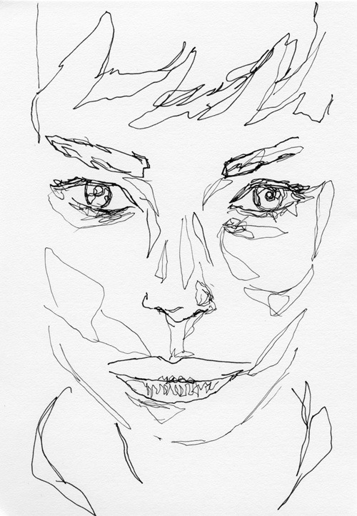 500x722 Drawing Art Face Draw Portrait Artist Study Line Ink Sketch Woman