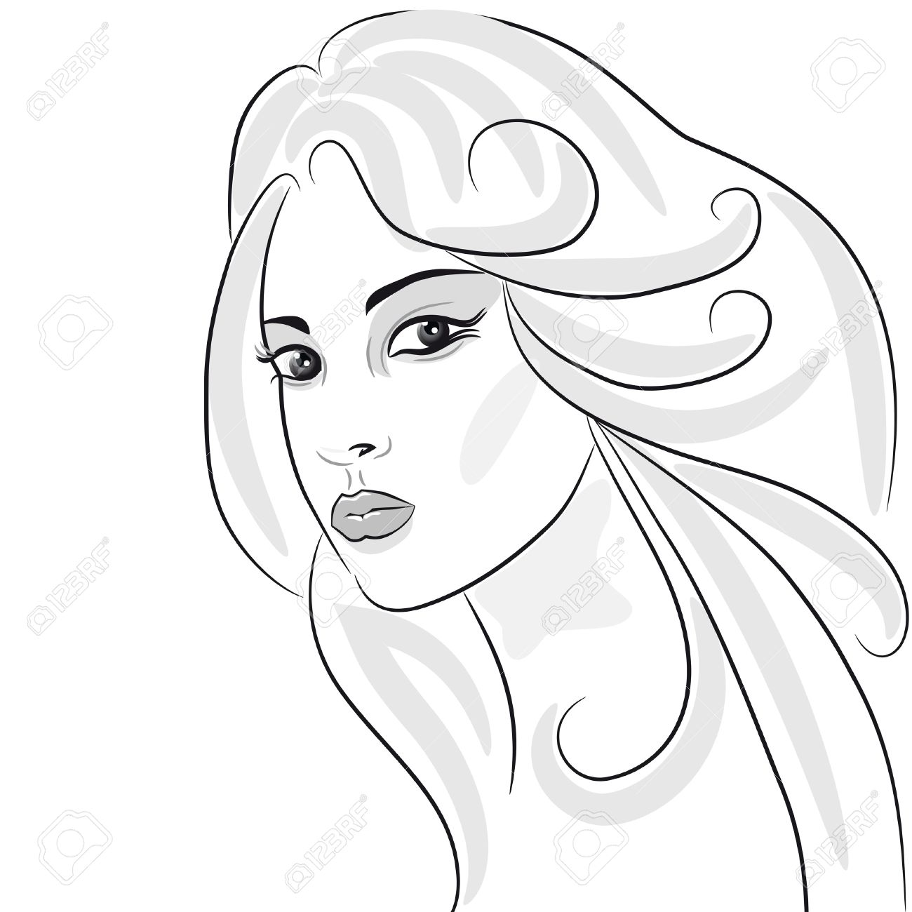 1300x1300 Beauty Girl Face Sketch, Woman Portrait. Hair Wavy. Design Element