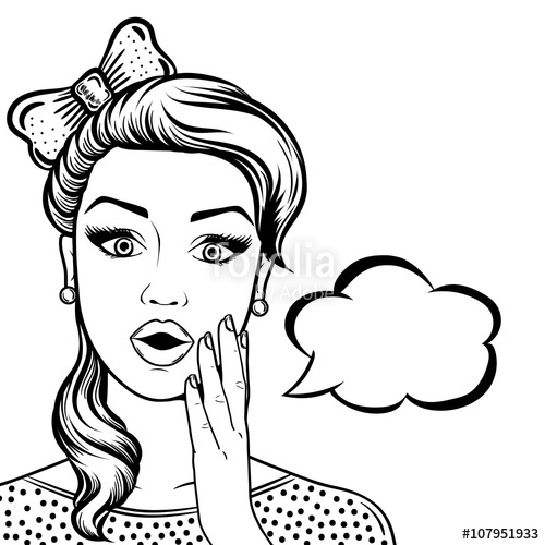 500x500 Line Art Cute Shocked Woman Face With Open Mouth, Comic Style