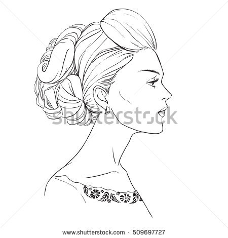 450x470 Pictures Line Drawing Female Face Profile,