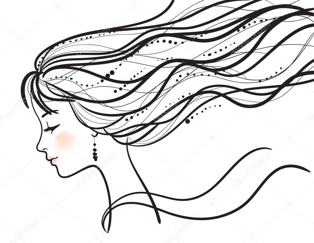 1024x793 Beautiful Woman Face Silhouette Stock Vector Prezent