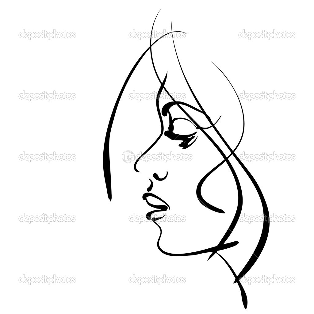 1024x1024 Sketch Clipart Beautiful Lady