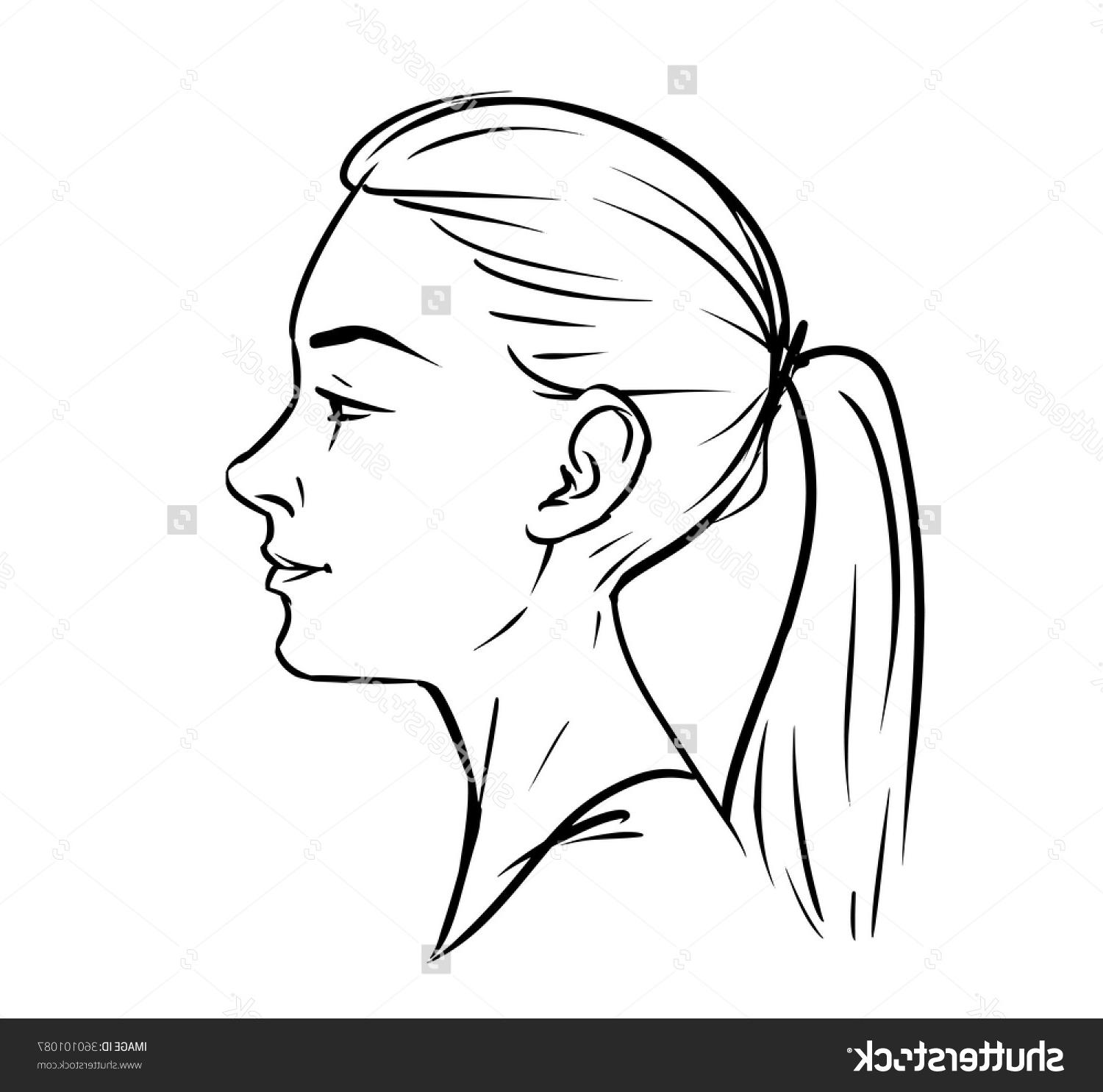 1500x1485 Unique Stock Vector Young Woman Face Side Drawing Black And White