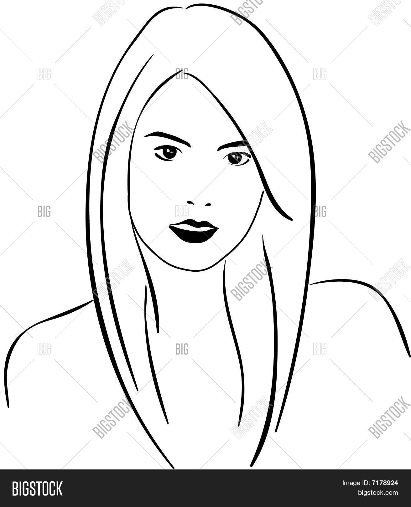 1312x1620 Woman Face Line Art Vector Amp Photo Bigstock