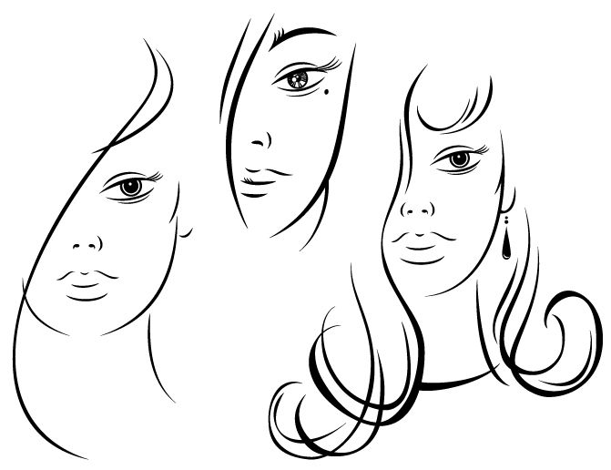 Woman Faces Drawing