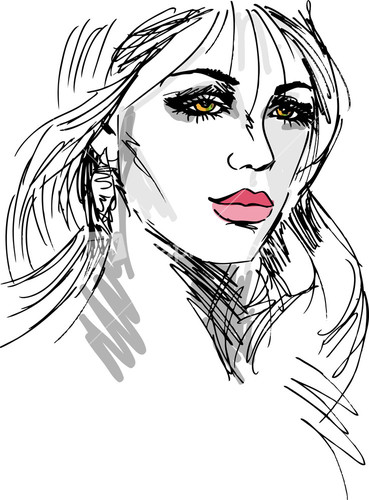 369x500 Sketch Of Beautiful Woman Face. Vector Illustration Embroidery