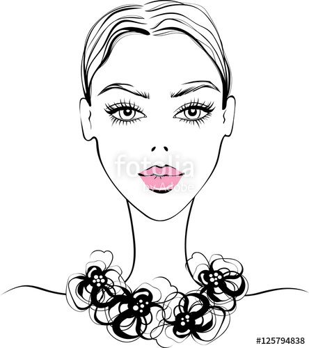 444x500 Vector Beautiful Girl Portrait In Sketch Style. Young Fashion