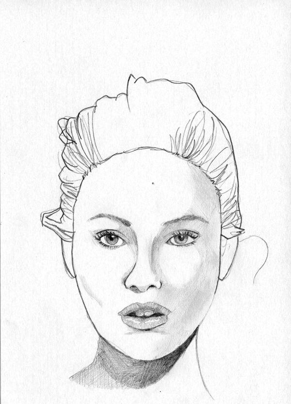 600x833 Woman Face Sketch On Behance Woman Face Study (Bw)