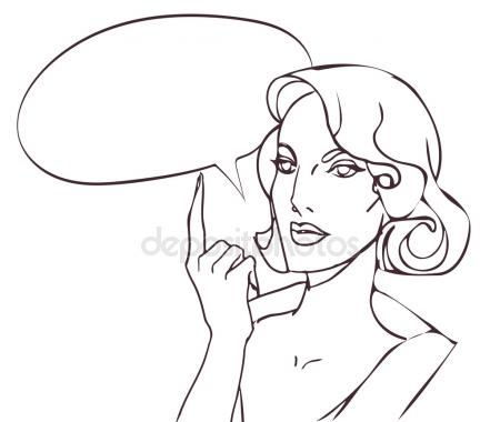 450x380 Pin Up Style Sexy Beautiful Woman Portrait With Speech Bubble, Pop
