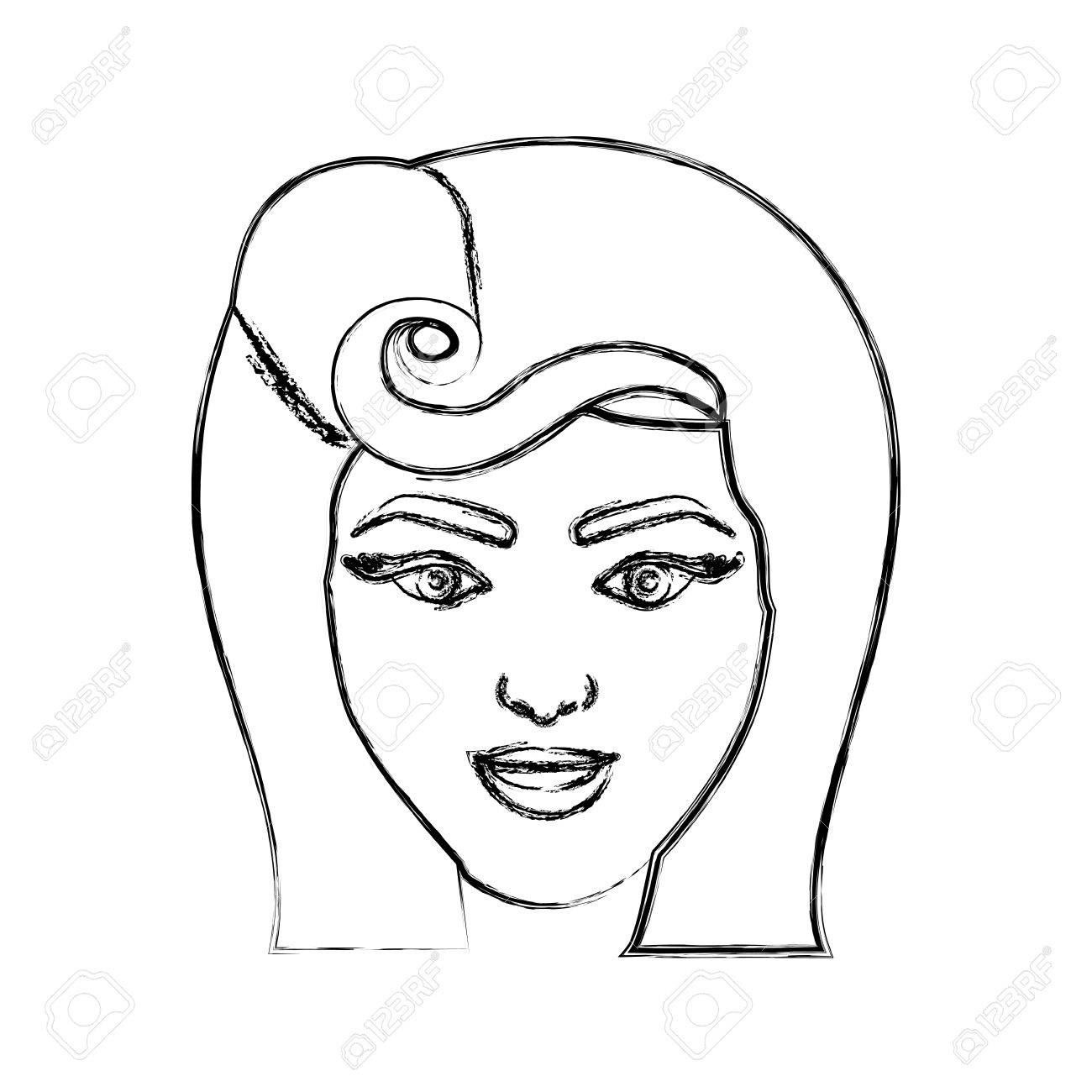 1300x1300 Blurred Silhouette Drawing Of Face Woman With Pin Up Swirl