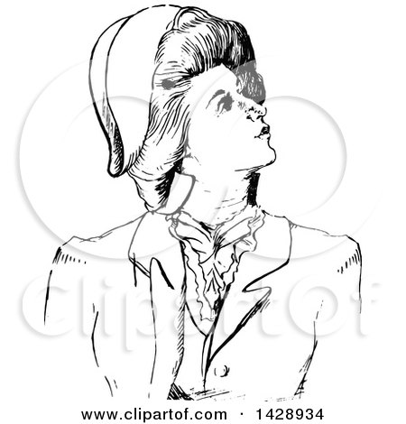 450x470 Clipart Of A Vintage Black And White Sketched Woman Looking Up