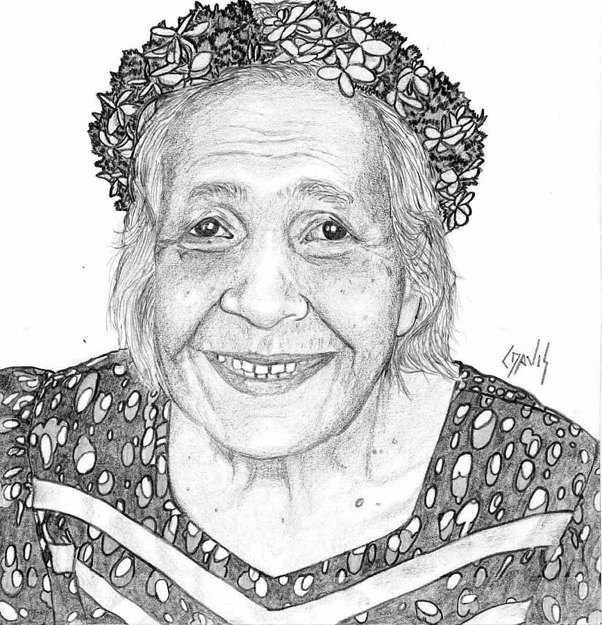867x900 Elderly Marshallese Woman Drawing By Lew Davis