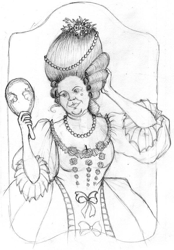 600x862 Portrait Baroque Woman Sketch By Tursiart