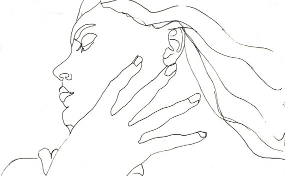 570x353 Art Pen And Ink Drawing Woman Profile Black And White Hand