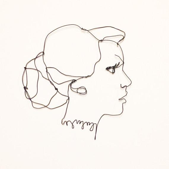 570x570 Wire Wall Art Side Profile Portrait Handmade Woman