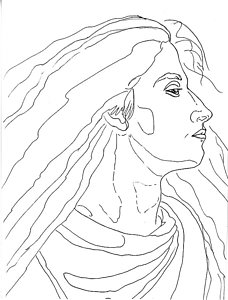 228x300 Woman Profile Drawings