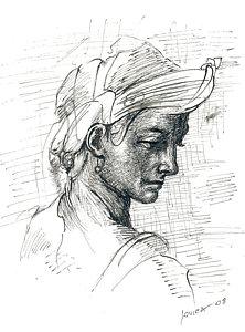 222x300 Woman Profile Drawings