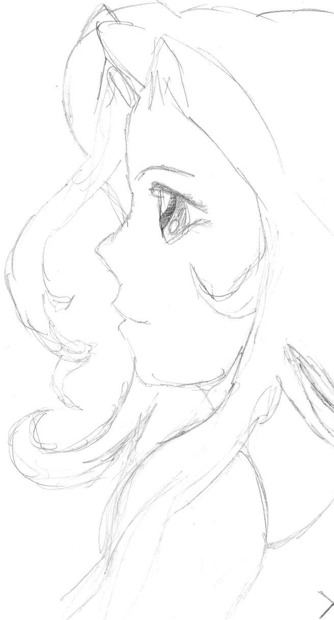 656x1218 Anime Girl In Profile By Dragonxtom