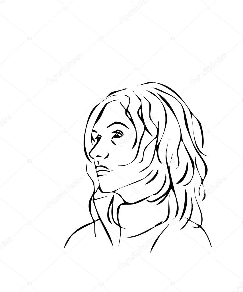 854x1024 Simple Line Illustrations Of A Woman Face Profile Stock Vector