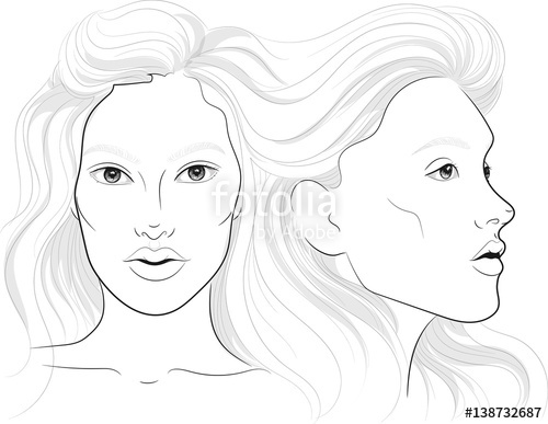 500x387 Vector Portrait Of A Woman's Profile And Full Face With Long