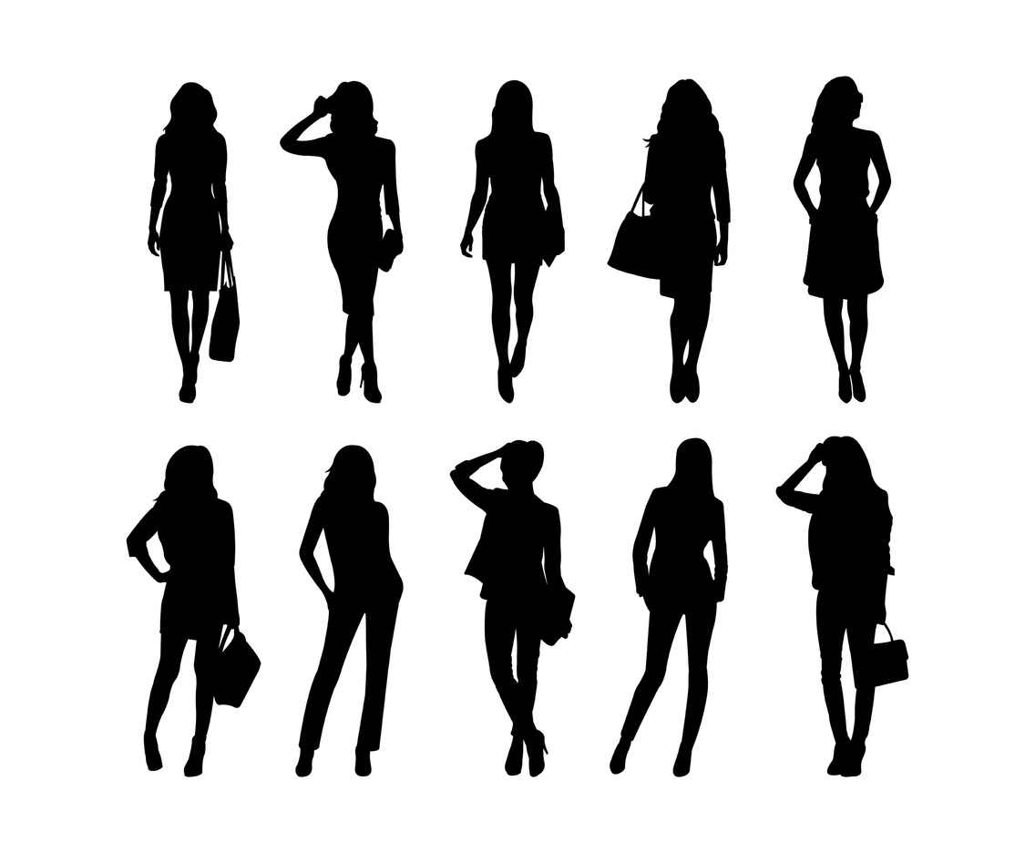 1136x936 Set Of Woman Silhouettes Vector Vector Art Amp Graphics