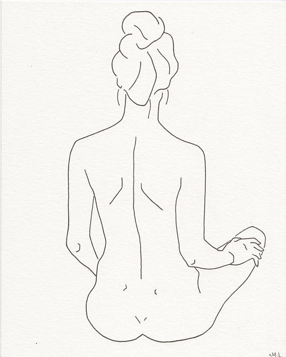 570x712 Minimalistic Line Drawing. Woman Silhouette Woman Back. Black