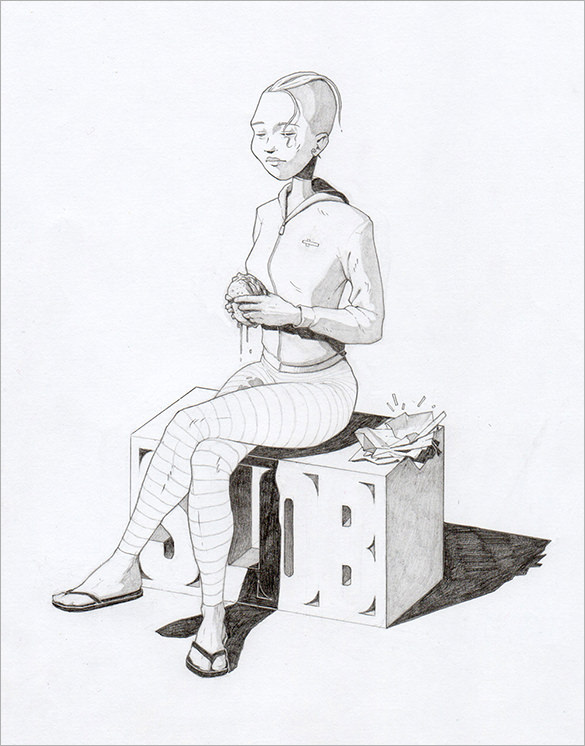 Woman Sitting Drawing