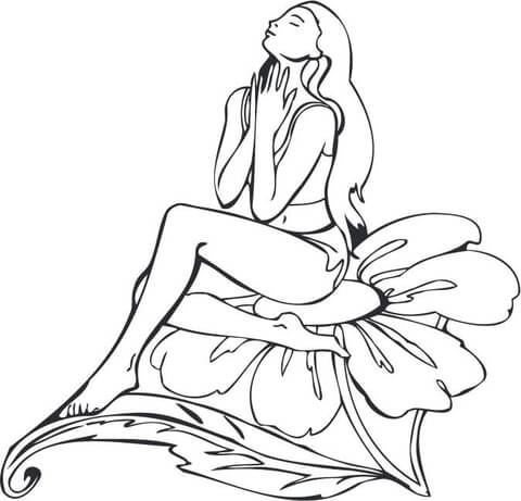 480x461 Fairy Girl Sitting On A Flower Coloring Page Free Printable