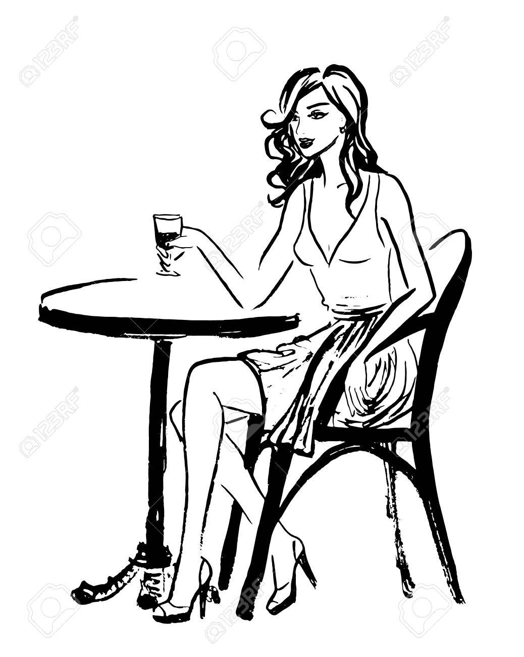 1038x1300 Fashion Illustration Of Sitting Woman In Cafe Of Paris. Ink