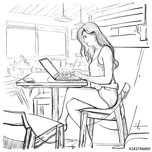 500x500 Girl Typing On Laptop Computer, Sketch Young Woman Chatting Online