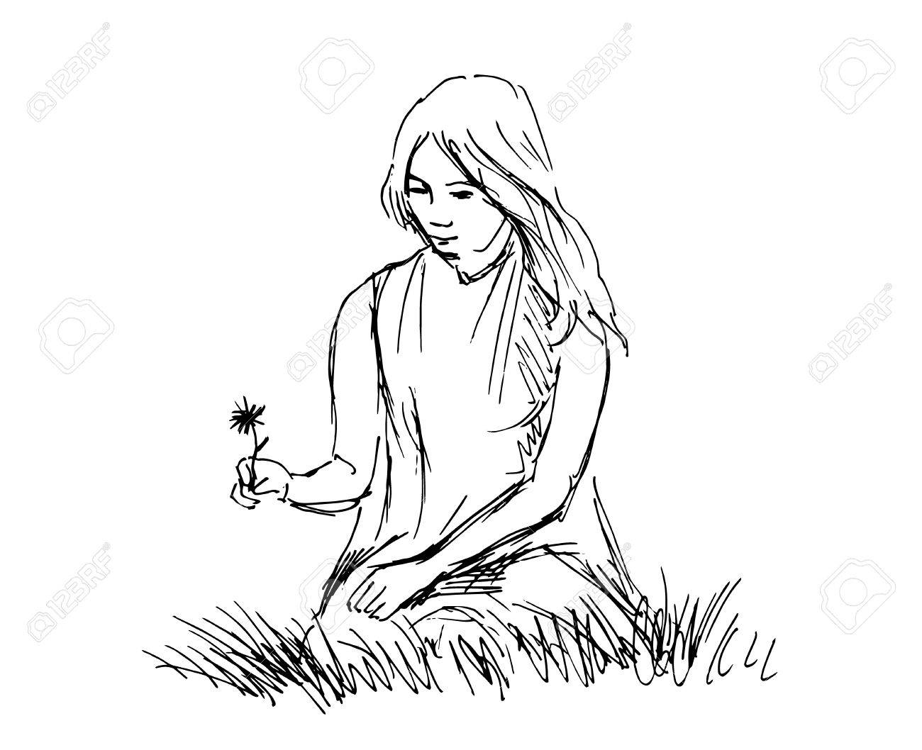1300x1058 Hand Sketch Woman Sitting In Grass. Vector Illustration Royalty