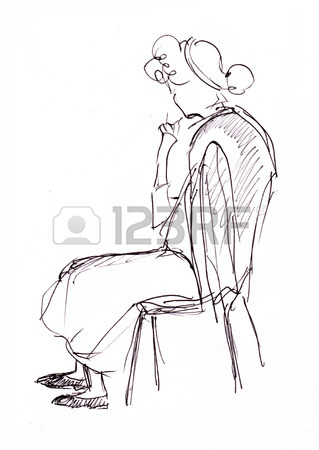 319x450 Instant Sketch, Figure Of Woman, Sitting On Chair Stock Photo