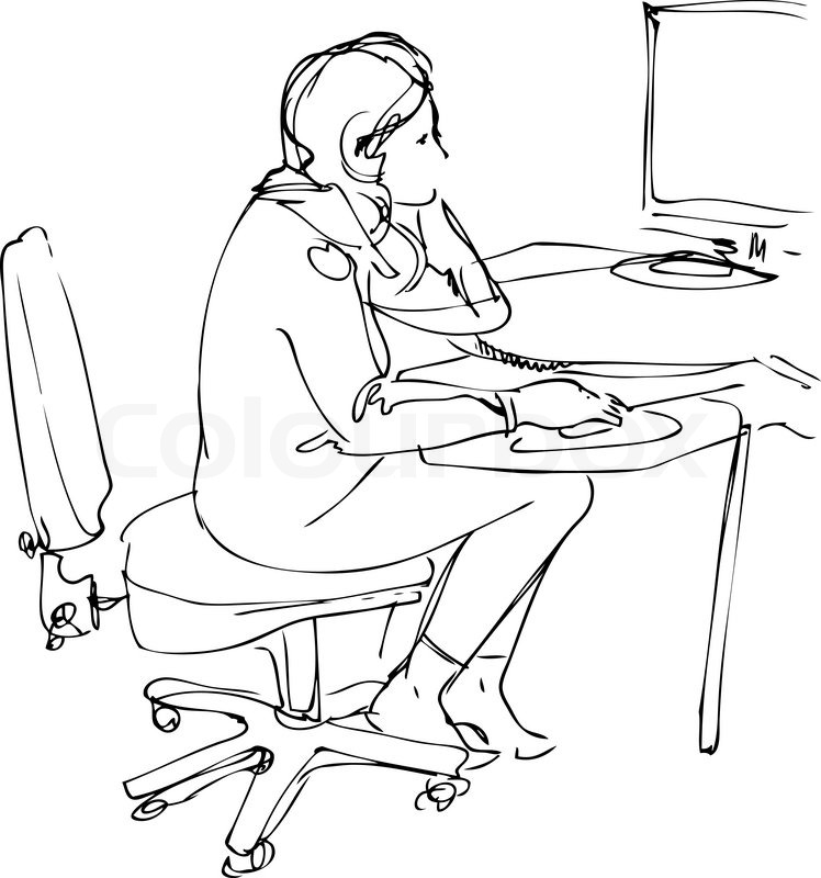 748x800 Sketch A Girl Sits And Works