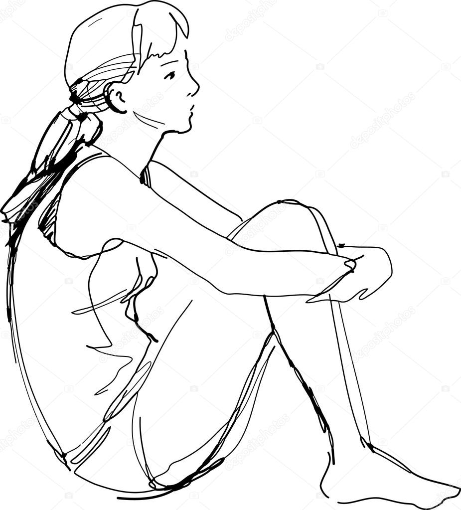 925x1023 Sketch Of A Girl Sitting Hugging Her Knees Stock Vector