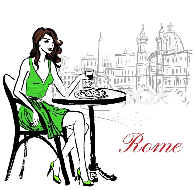 800x776 Artistic Hand Drawn Sketch Of Woman Sitting In Cafe On Piazza