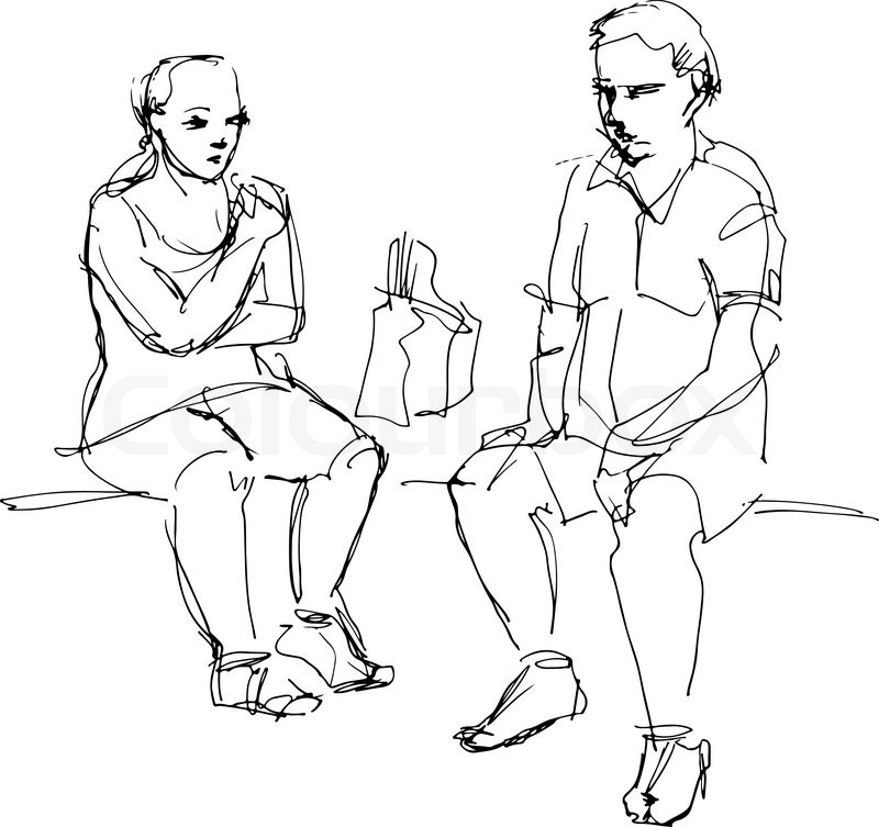 800x753 Black And White Sketch Of A Man And A Woman Sitting On A Bench