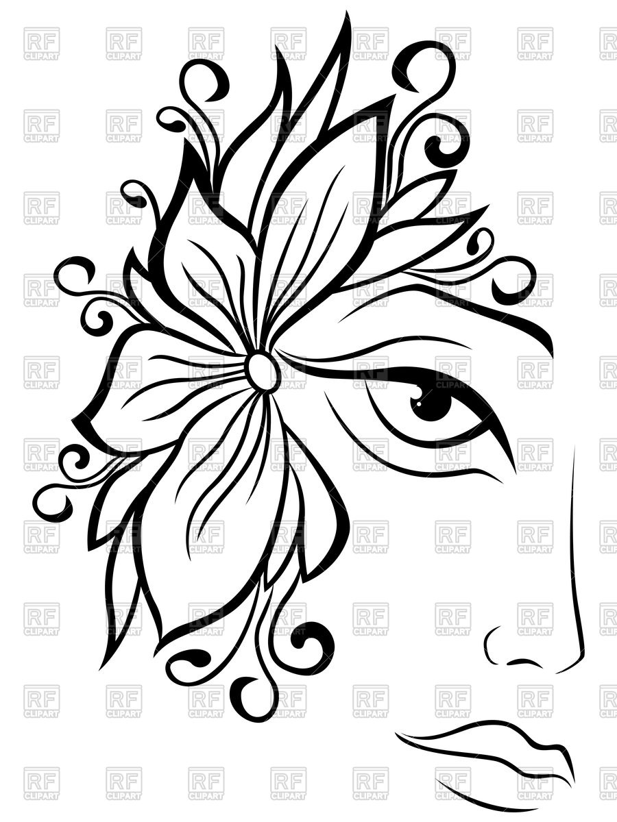 900x1200 Part Of Abstract Black And White Women Face Royalty Free Vector